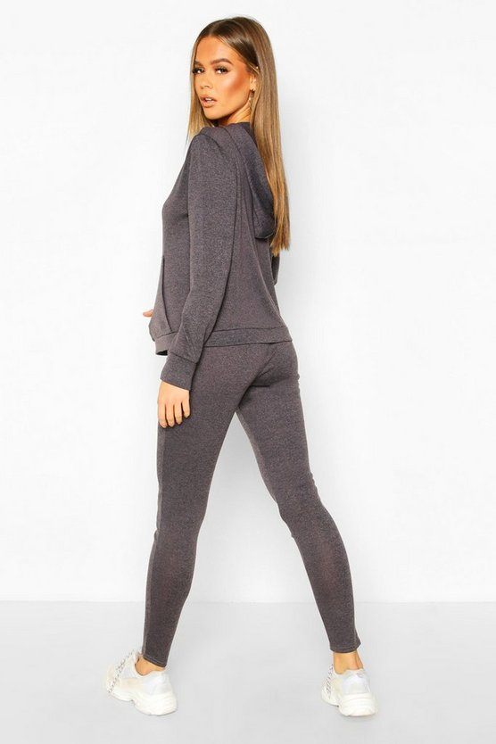 Hooded Kangaroo Pocket Knitted Lounge Set
