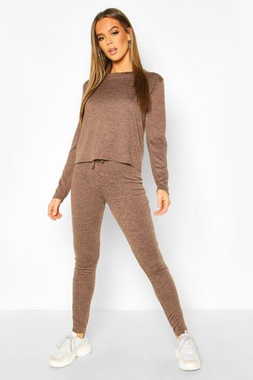 Chocolate Crew Neck Knitted Lounge Set
