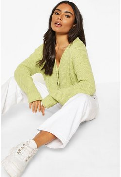 Sage Button Through Cable Knit Crop Cardigan