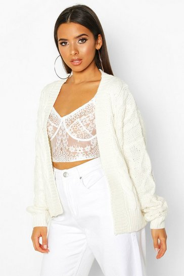 Womens Ivory Cable Knit Edge To Edge Cardigan