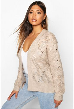 Biscuit Open Cable Knit Edge To Edge Cardigan