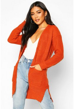 Orange Pocket Detail Longline Cardigan