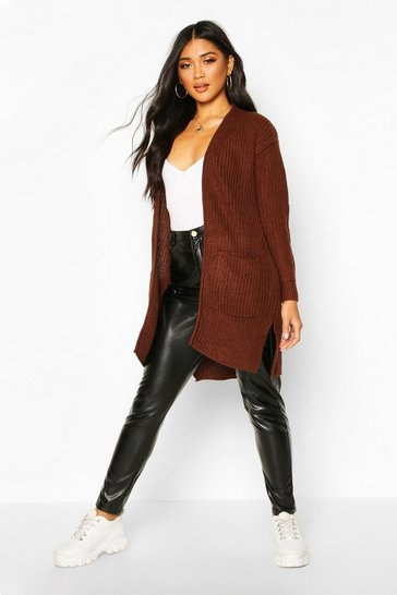 Womens Mocha Pocket Detail Longline Cardigan
