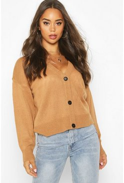Womens Camel Button Through Drop Shoulder Cardigan