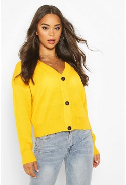 Womens Yellow Button Through Drop Shoulder Cardigan