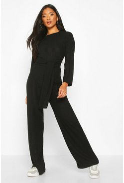 Womens Black Rib Knit Tie Waist Jumpsuit