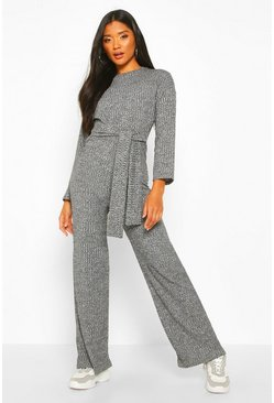 Womens Grey Rib Knit Tie Waist Jumpsuit