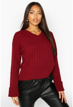 Womens Berry V Neck Rib Knit Jumper