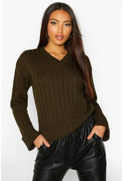 Khaki V Neck Rib Knit Jumper