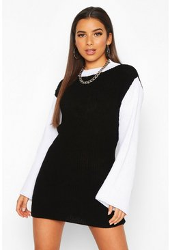 Womens Black Colour Block Knitted Jumper Dress