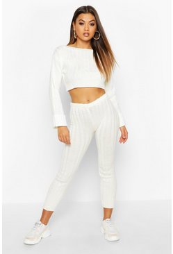 Womens Cream Cropped Rib Knit Set