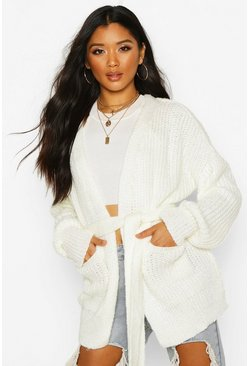 Womens Cream Chunky Marl Knit Belted Cardigan