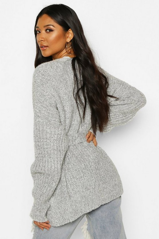 Chunky Marl Knit Belted Cardigan