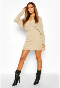 Dam Stone Knit Wrap Mini Dress