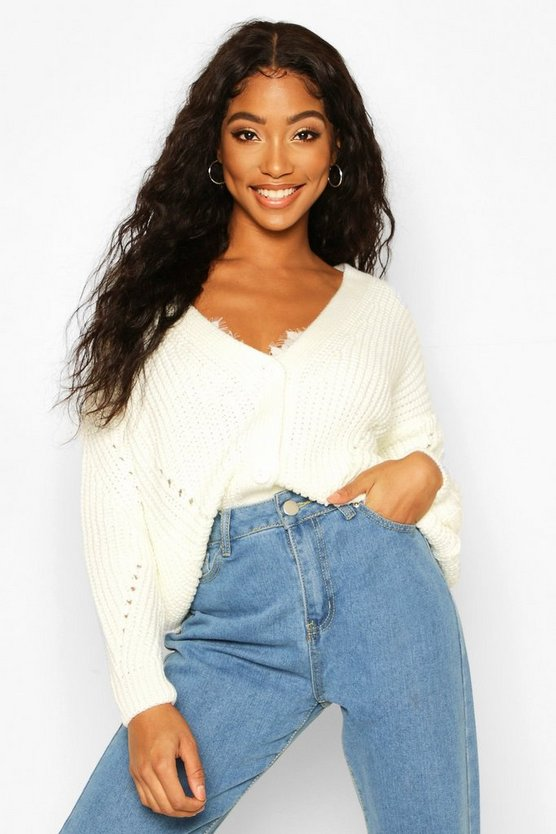 Chunky Knitted Cropped Cardigan