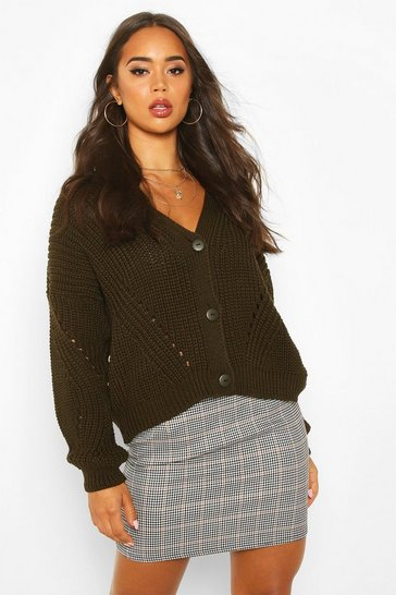 Womens Khaki Chunky Knitted Cropped Cardigan