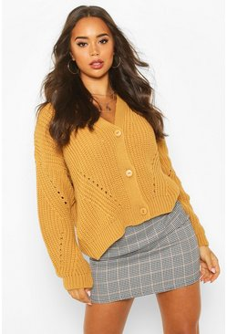 Toffee Chunky Knitted Cropped Cardigan