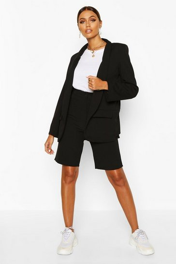 Womens Black Tailored City Short