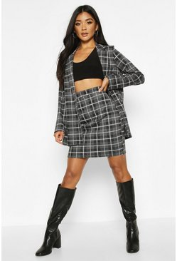 Black Grid Check Tailored Mini Skirt