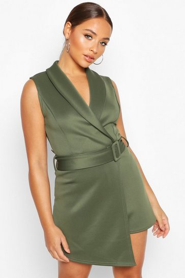 Womens Khaki V Neck Wrap Over Self Belt Tailored Skort Playsuit