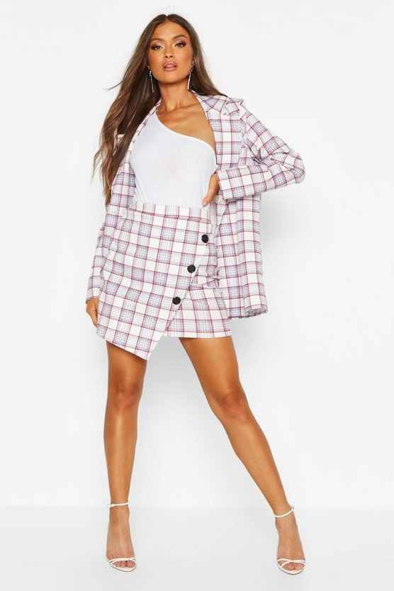 Check Button Front Wrap Over Mini Skirt