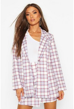 Womens Blue Oversized Check Single Breasted Blazer