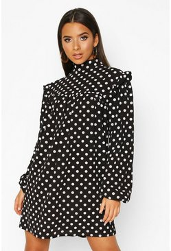 Womens Black Woven High Neck Smock Polka Dot Dress