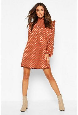 Rust Woven High Neck Smock Polka Dot Dress