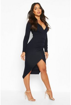 Dam Navy Ruched Side Wrap Over Tailored Midi Dress