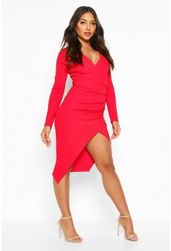 Red Ruched Side Wrap Over Tailored Midi Dress