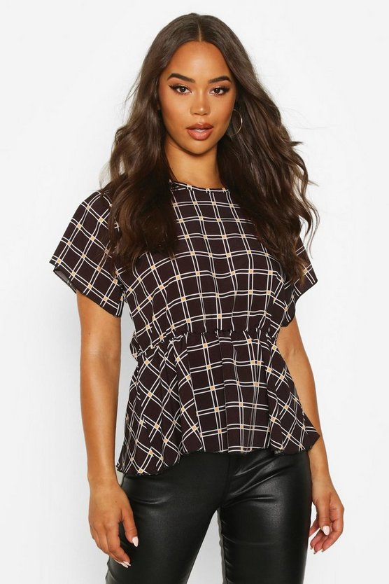 Womens Black Check Peplum Detail Blouse