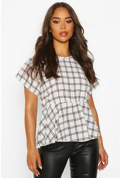 Womens Ivory Check Peplum Detail Blouse