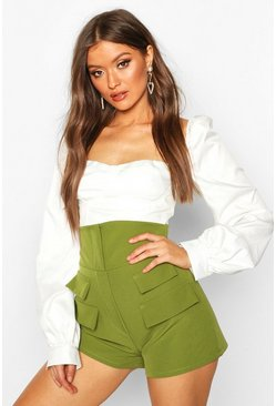 Womens Olive Pocket Detail High Waist Short