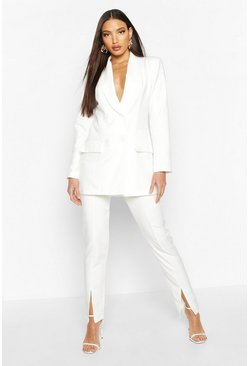 Womens Ivory Split Front Tailored Trouser