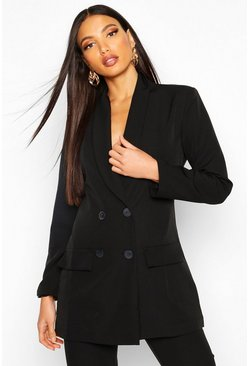 Womens Black Longline Double Breasted Blazer