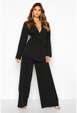 Womens Black Pleat Detail Wide Leg Trouser