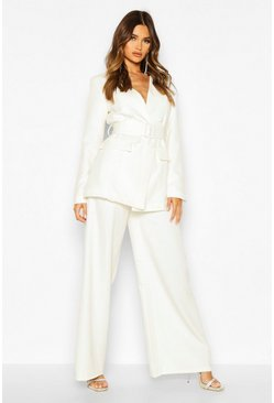 Womens Ivory Pleat Detail Wide Leg Trouser