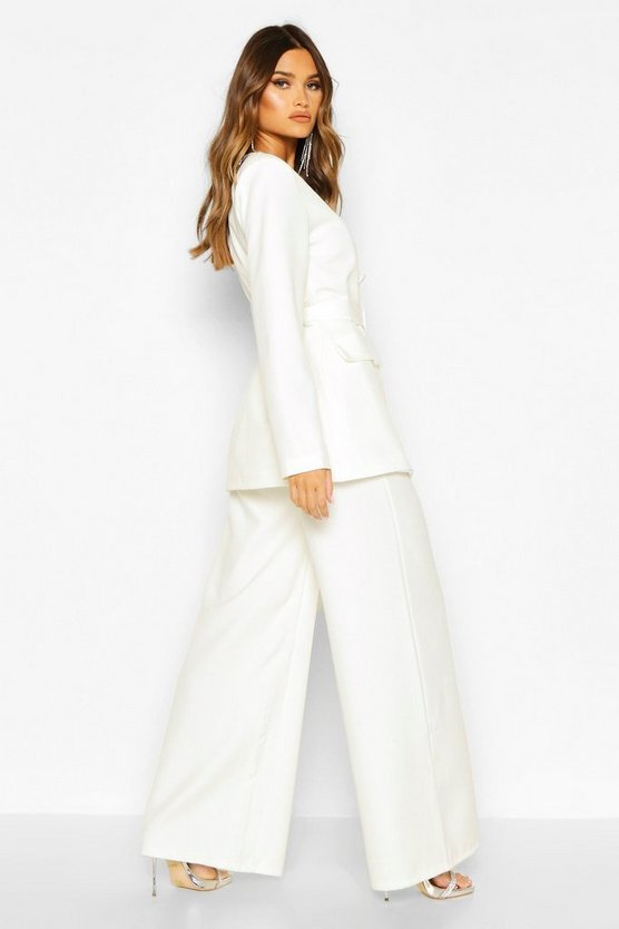 Pleat Detail Wide Leg Trouser