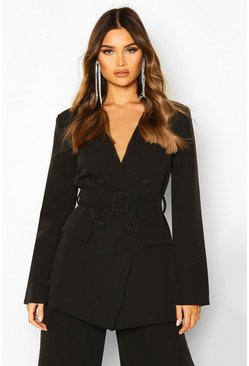 Womens Black Collarless Double Breasted Belted Jacket
