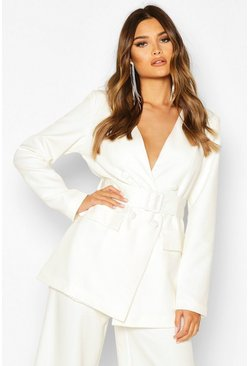 Ivory Collarless Double Breasted Belted Jacket