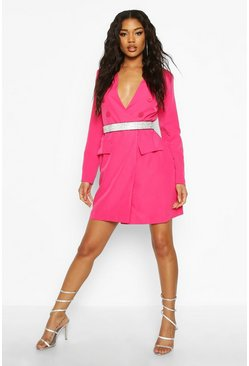Womens Fushia Collarless Double Breasted Blazer Dress