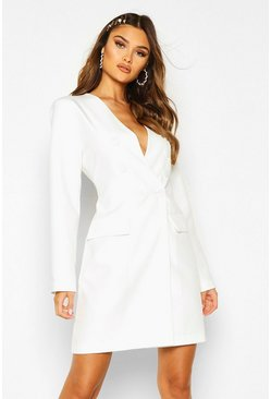 Womens Ivory Collarless Double Breasted Blazer Dress