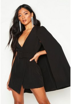 Black Belted Cape Detail Blazer Dress