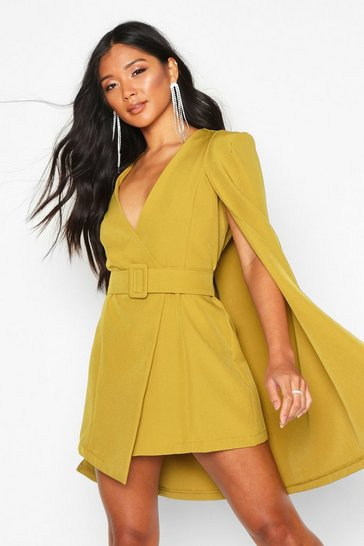 Womens Chartreuse Belted Cape Detail Blazer Dress