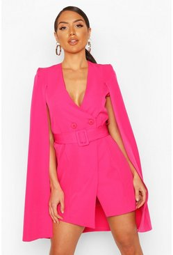 Hot pink Belted Cape Detail Blazer Dress