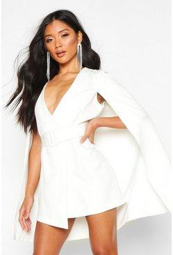 Womens Ivory Belted Cape Detail Blazer Dress
