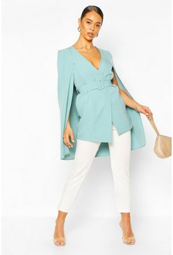 Mint Belted Cape Detail Blazer Dress