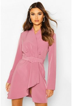 Womens Mauve Wrap Detail Belted Blazer Dress