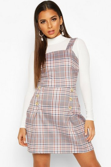 Womens Rust Woven Check Button Pleated Pinafore Dress