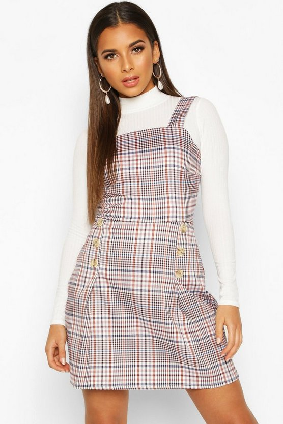 Woven Check Button Pleated Pinafore Dress